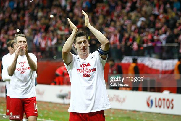 Robert Lewandowski celebrates his teams victory during the UEFA Euro 2016 Qualifying Round match between Poland and Ireland at the National Stadium...