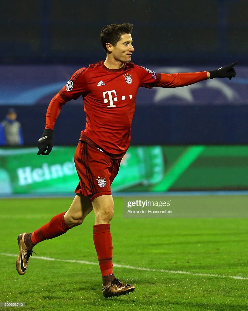 Robert Lewandowski celebrates scoring the second Bayern Munich goal during the UEFA Champions League Group F match between GNK Dinamo Zagreb and FC...