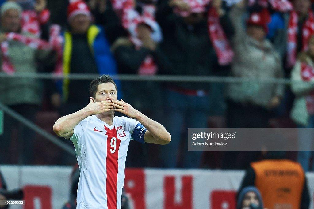 Robert Lewandowski from Poland celebrates after scoring during the UEFA EURO 2016 qualifying match between Poland and Republic of Ireland at National...