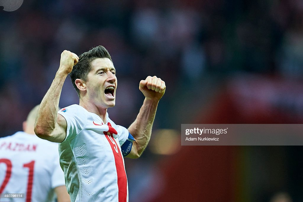 Robert Lewandowski from Poland celebrates after the UEFA EURO 2016 qualifying match between Poland and Republic of Ireland at National Stadium on October 11, 2015 in Warsaw, Poland.