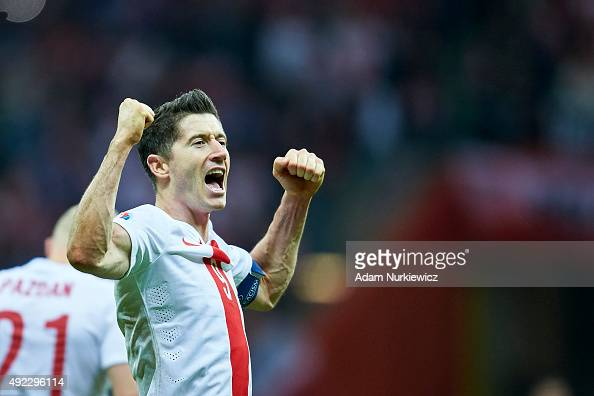 Robert Lewandowski from Poland celebrates after the UEFA EURO 2016 qualifying match between Poland and Republic of Ireland at National Stadium on...