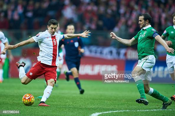 Robert Lewandowski from Poland shoots on the goal during the UEFA EURO 2016 qualifying match between Poland and Republic of Ireland at National...