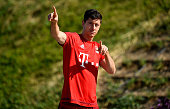 Robert Lewandowski gestures during a training session at day six of the Bayern Muenchen training camp at Aspire Academ on January 11 2016 in Doha...