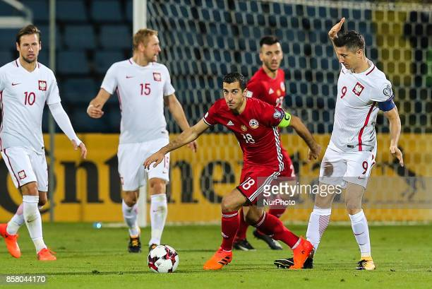 Robert Lewandowski Henrikh Mkhitaryan during the FIFA World Cup 2018 qualification football match between Armenia and Poland in Yerevan on October 5...