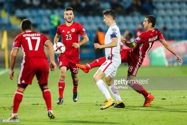 Robert Lewandowski Henrikh Mkhitaryan Sargis Adamyan Artak Edigaryan during the FIFA World Cup 2018 qualification football match between Armenia and...