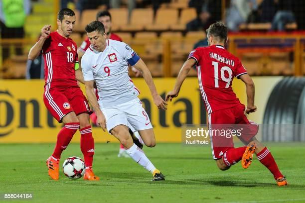 Robert Lewandowski Hovhannes Hambartsumyan Henrikh Mkhitaryan during the FIFA World Cup 2018 qualification football match between Armenia and Poland...
