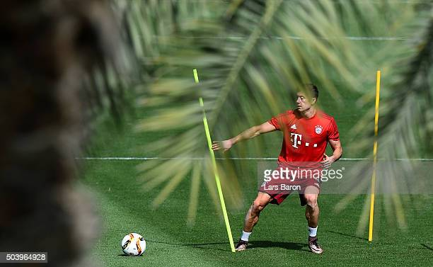 Robert Lewandowski in action during a training session at day three of the Bayern Muenchen training camp at Aspire Academy on January 8 2016 in Doha...