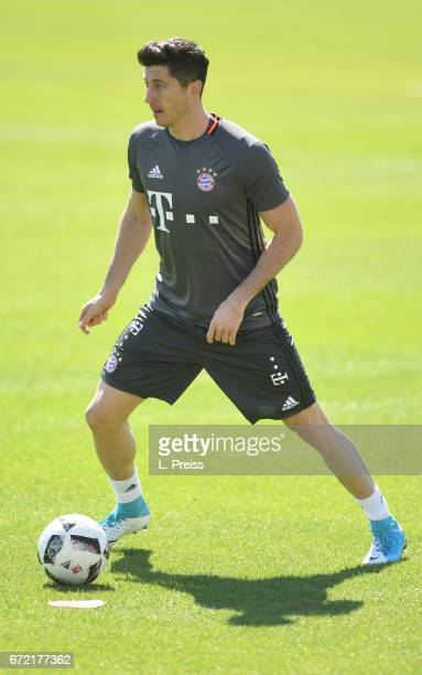 Robert Lewandowski in action during a training session of FC Bayern Muenchen on April 24 2017 in Munich Germany