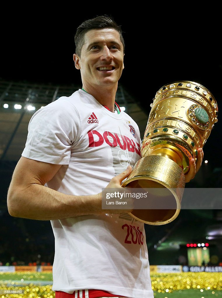 Robert Lewandowski is seen after winning the DFB Cup Final 2016 between Bayern Muenchen and Borussia Dortmund at Olympiastadion on May 21, 2016 in Berlin, Germany.