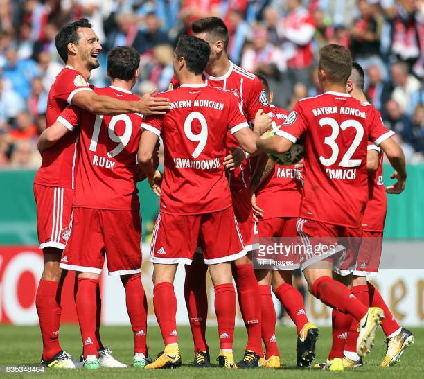 Robert Lewandowski of Bayern Muenchen celebrates after scoring his team`s first goal during the DFB Cup first round match between Chemnitzer FC and...