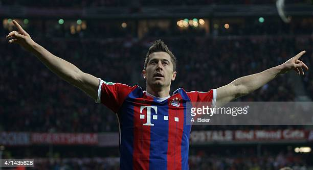 Robert Lewandowski of Bayern Muenchen celebrates his first goal during the DFB Cup semi final match between FC Bayern Muenchen and Borussia Dortmund...