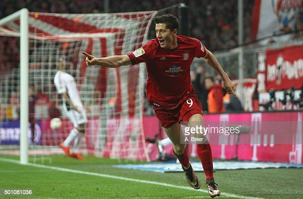 Robert Lewandowski of Bayern Muenchen celebrates his first goal during the Bundesliga match between FC Bayern Muenchen and FC Ingolstadt at Allianz...