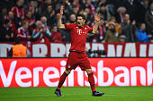 Robert Lewandowski of Bayern Muenchen celebrates scoring his side's first goal during the UEFA Champions League Group F match between FC Bayern...