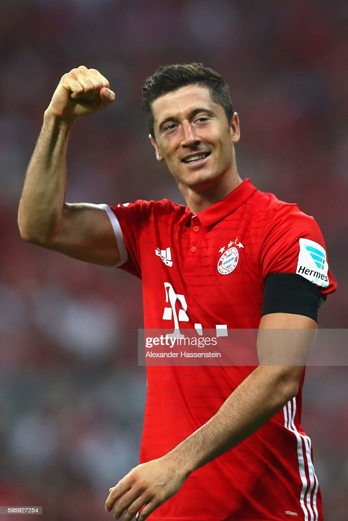 Robert Lewandowski of Bayern Muenchen celebrates scoring the 3rd team goal during the Bundesliga match between Bayern Muenchen and Werder Bremen at Allianz Arena on August 26, 2016 in Munich, Germany.