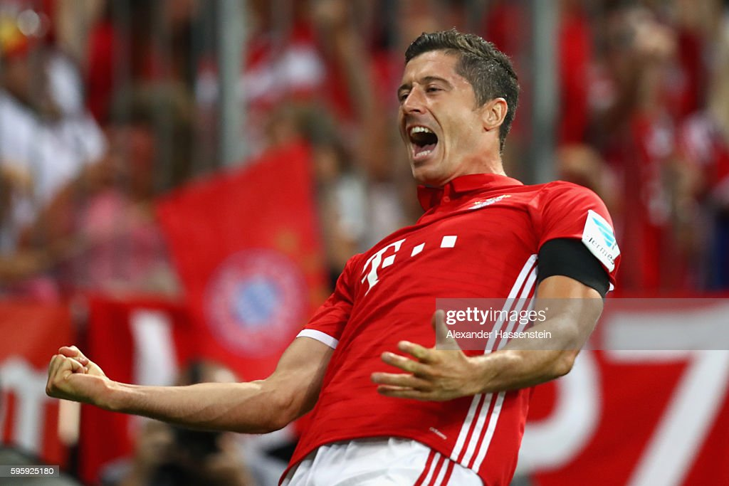Robert Lewandowski of Bayern Muenchen celebrates scoring the second team goal during the Bundesliga match between Bayern Muenchen and Werder Bremen at Allianz Arena on August 26, 2016 in Munich, Germany.