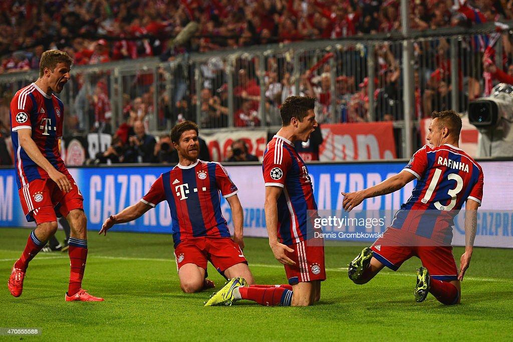 Robert Lewandowski of Bayern Muenchen celebrates scoring their third goal during the UEFA Champions League Quarter Final Second Leg match between FC...
