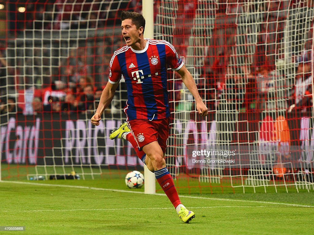 <a gi-track='captionPersonalityLinkClicked' href=/galleries/search?phrase=Robert+Lewandowski&family=editorial&specificpeople=5532633 ng-click='$event.stopPropagation()'>Robert Lewandowski</a> of Bayern Muenchen celebrates scoring their third goal during the UEFA Champions League Quarter Final Second Leg match between FC Bayern Muenchen and FC Porto at Allianz Arena on April 21, 2015 in Munich, Germany.