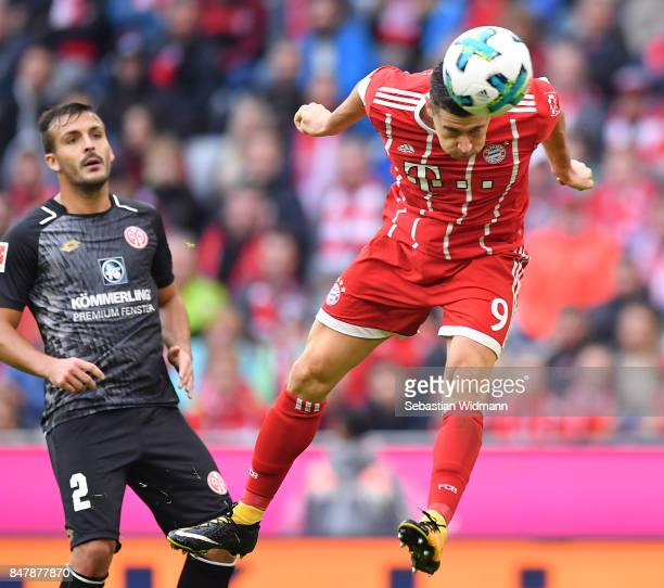 Robert Lewandowski of Bayern Muenchen heads to score his teams fourth goal to make it 40 during the Bundesliga match between FC Bayern Muenchen and 1...