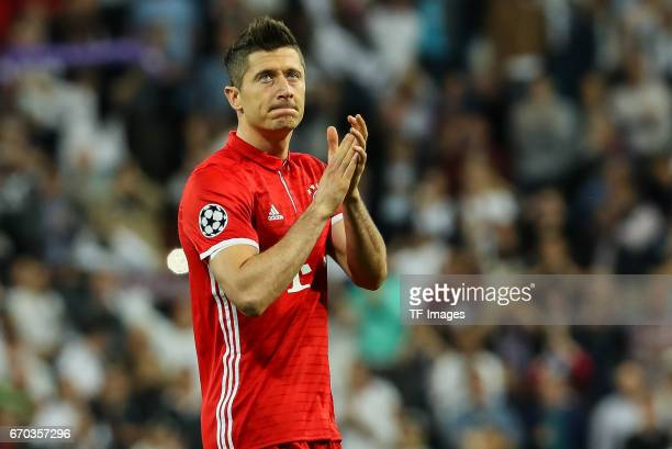 Robert Lewandowski of Bayern Muenchen looks dejected during the UEFA Champions League Quarter Final second leg match between Real Madrid CF and FC...