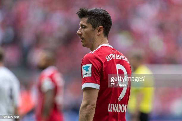 Robert Lewandowski of Bayern Muenchen looks on during the Bundesliga match between Bayern Muenchen and SC Freiburg at Allianz Arena on May 20 2017 in...
