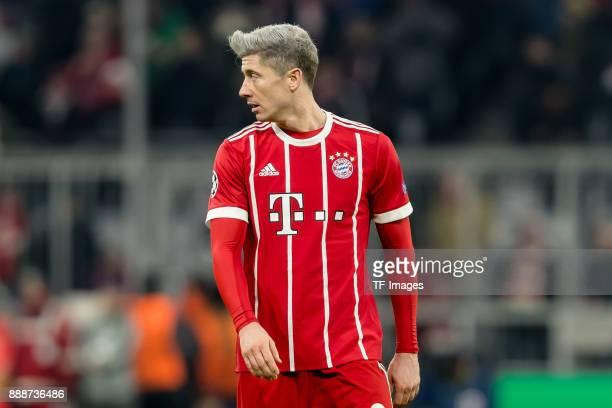Robert Lewandowski of Bayern Muenchen looks on during the UEFA Champions League group B match between Bayern Muenchen and Paris SaintGermain at...