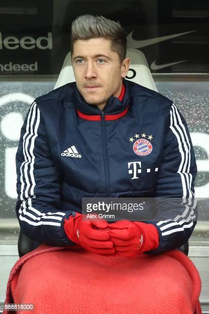 Robert Lewandowski of Bayern Muenchen on the bench during the Bundesliga match between Eintracht Frankfurt and FC Bayern Muenchen at CommerzbankArena...