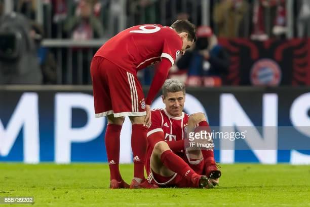 Robert Lewandowski of Bayern Muenchen on the ground during the UEFA Champions League group B match between Bayern Muenchen and Paris SaintGermain at...
