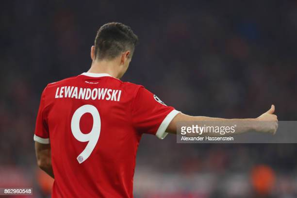 Robert Lewandowski of Bayern Muenchen reacts during the UEFA Champions League group B match between Bayern Muenchen and Celtic FC at Allianz Arena on...