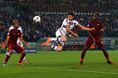 Robert Lewandowski of Bayern Muenchen scores his team's third goal during the UEFA Champions League group E match between AS Roma and FC Bayern...