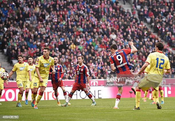 Robert Lewandowski of Bayern Muenchen scores the second goal during the Bundesliga match between FC Bayern Muenchen and 1899 Hoffenheim at Allianz...