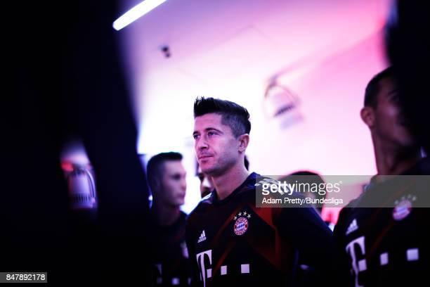Robert Lewandowski of Bayern Munich before the Bundesliga match between FC Bayern Muenchen and 1 FSV Mainz 05 at Allianz Arena on September 16 2017...