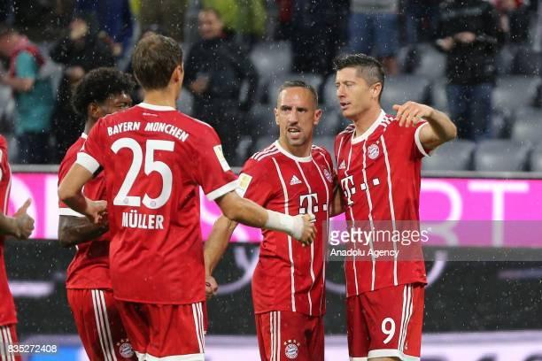 Robert Lewandowski of Bayern Munich celebrates a goal during the German First division Bundesliga soccer match between FC Bayern Munich and Bayer 04...