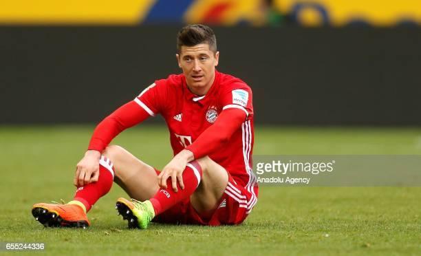 Robert Lewandowski of Bayern Munich gestures during the Bundesliga Match between Borussia Moenchengladbach and Bayern Munich at BorussiaPark on March...