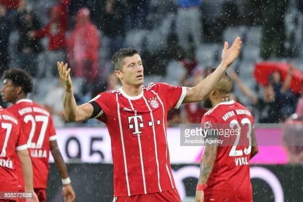 Robert Lewandowski of Bayern Munich gestures during the German First division Bundesliga soccer match between FC Bayern Munich and Bayer 04...