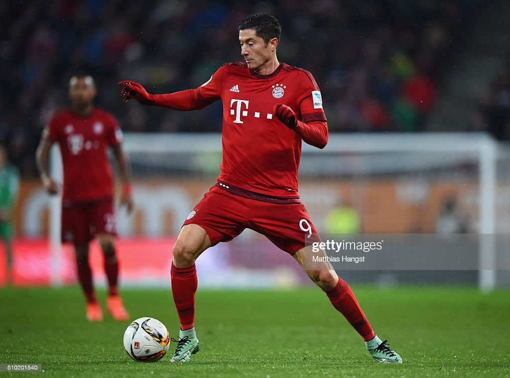 <a gi-track='captionPersonalityLinkClicked' href=/galleries/search?phrase=Robert+Lewandowski&family=editorial&specificpeople=5532633 ng-click='$event.stopPropagation()'>Robert Lewandowski</a> of Bayern Munich in action during the Bundesliga match between FC Augsburg and FC Bayern Muenchen at SGL Arena on February 14, 2016 in Augsburg, Germany.