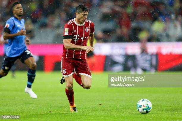 Robert Lewandowski of Bayern Munich in action during the German First division Bundesliga soccer match between FC Bayern Munich and Bayer 04...