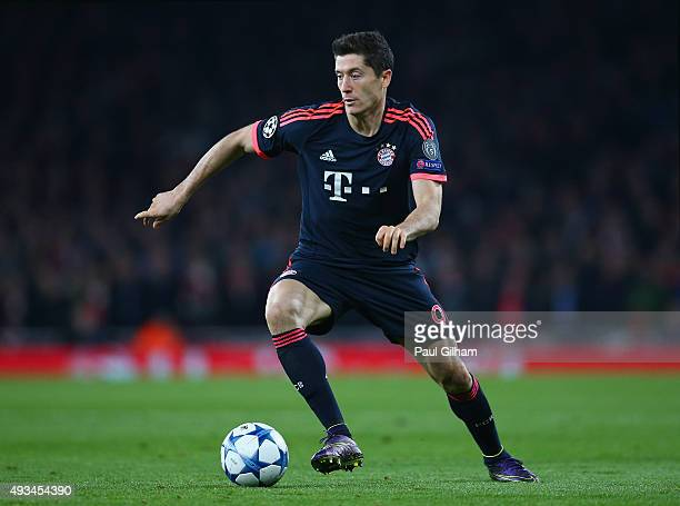 Robert Lewandowski of Bayern Munich in action during the UEFA Champions League Group F match between Arsenal FC and FC Bayern Munchen at Emirates...