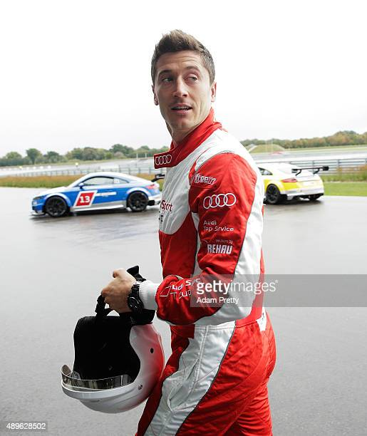 Robert Lewandowski of Bayern Munich leaves the track after the Audi Driving Experience and the Audi to FC Bayern Muenchen new car handover event on...