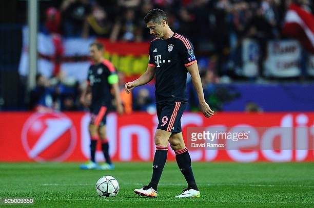 Robert Lewandowski of Bayern Munich looks dejected as Saul Niguez of Atletico Madrid scorrs their first goal during the UEFA Champions League semi...