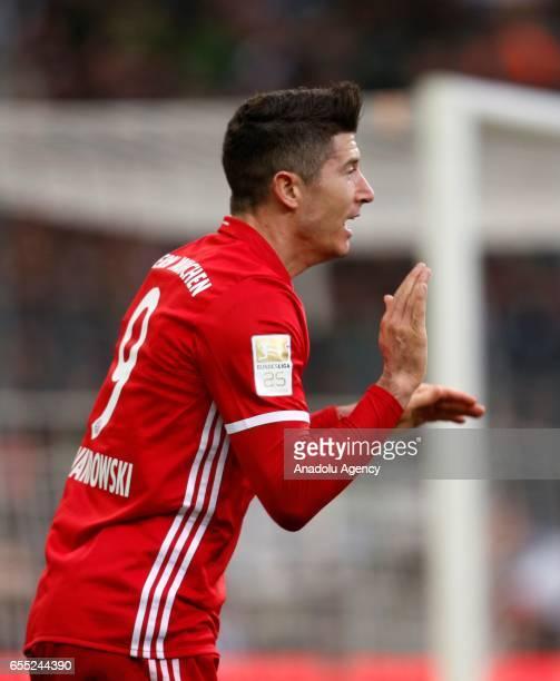 Robert Lewandowski of Bayern Munich reacts during the Bundesliga Match between Borussia Moenchengladbach and Bayern Munich at BorussiaPark on March...