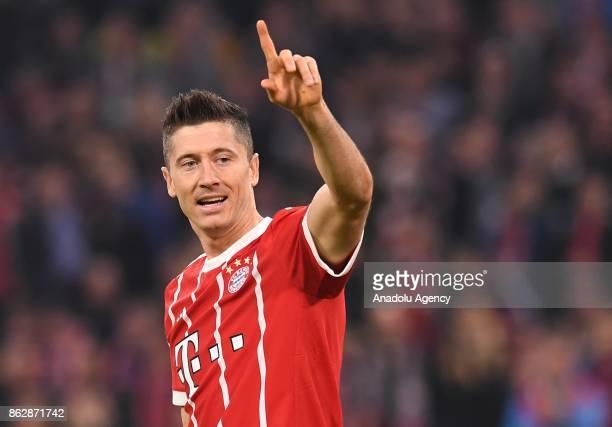 Robert Lewandowski of Bayern Munich reacts during the Champions League group B soccer match between FC Bayern Munich and Celtic FC at the Allianz...