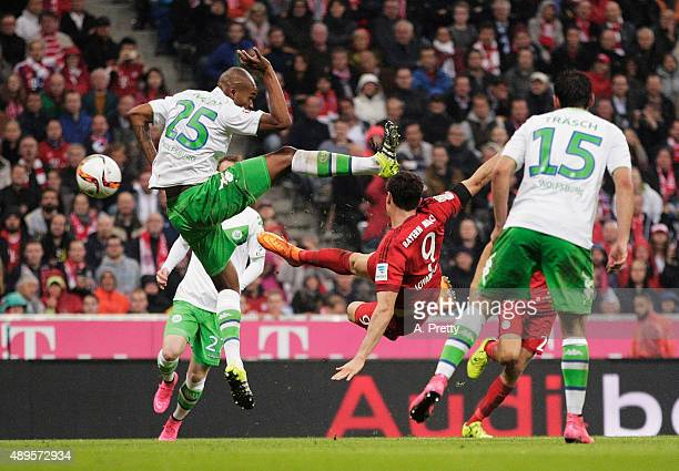 Robert Lewandowski of Bayern Munich scores his 5th goal during the Bundesliga match between FC Bayern Muenchen and VfL Wolfsburg at Allianz Arena on...