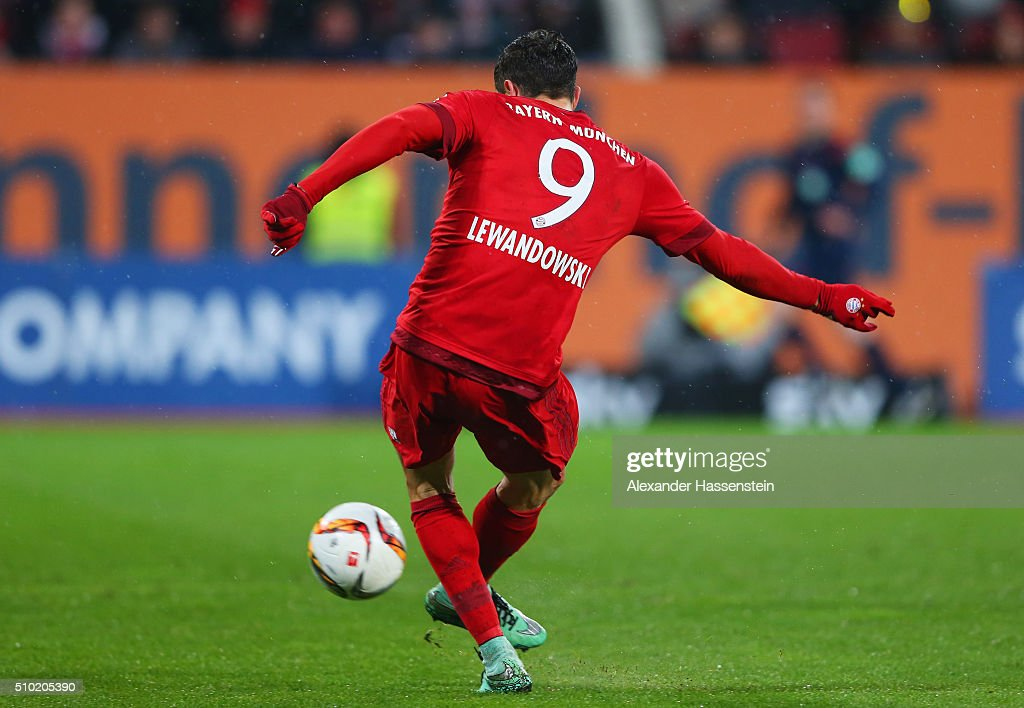 <a gi-track='captionPersonalityLinkClicked' href=/galleries/search?phrase=Robert+Lewandowski&family=editorial&specificpeople=5532633 ng-click='$event.stopPropagation()'>Robert Lewandowski</a> of Bayern Munich scores their second goal during the Bundesliga match between FC Augsburg and FC Bayern Muenchen at SGL Arena on February 14, 2016 in Augsburg, Germany.