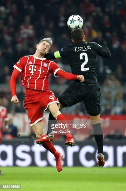 Robert Lewandowski of Bayern Munich Thiago Silva of PSG during the UEFA Champions League group B match between Bayern Muenchen and Paris SaintGermain...