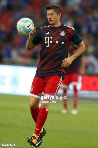 Robert Lewandowski of Bayern Munich warms up during the International Champions Cup match between Chelsea FC and FC Bayern Munich at National Stadium...