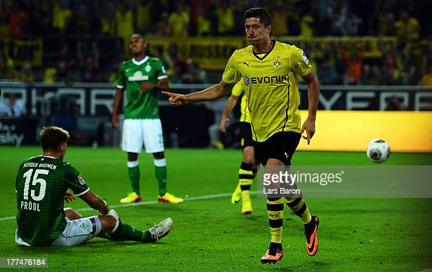 Robert Lewandowski of Dortmund celebrates after scoring his teams first goal during the Bundesliga match between Borussia Dortmund and Werder Bremen...