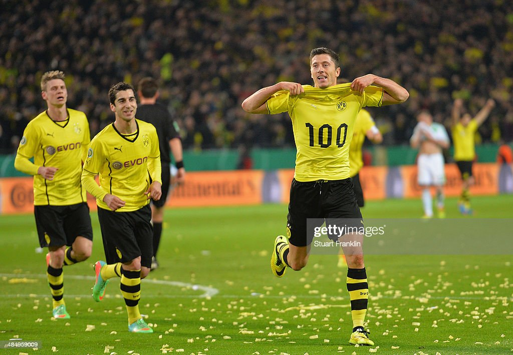 Robert Lewandowski of Dortmund celebrates scoring his goal during the DFB Cup semi final match between Borussia Dortmund and VfL Wolfsburg at Signal Iduna Park on April 15, 2014 in Dortmund, Germany.