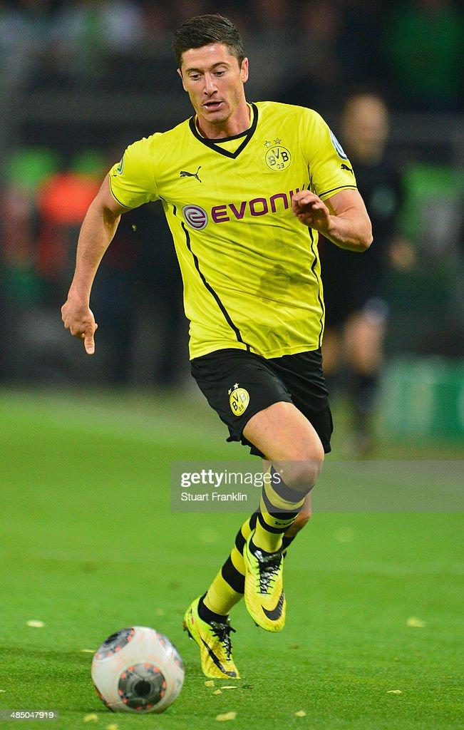 Robert Lewandowski of Dortmund in action during the DFB Cup semi final match between Borussia Dortmund and VfL Wolfsburg at Signal Iduna Park on April 15, 2014 in Dortmund, Germany.