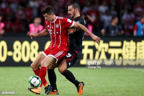 Robert Lewandowski of FC Bayern and Leonardo Bonucci of AC Milan controls the ball during the 2017 International Champions Cup China match between FC...