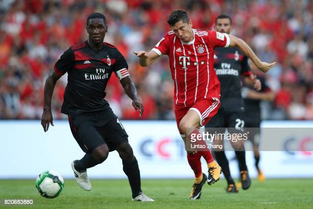 Robert Lewandowski of FC Bayern competes for the ball during the 2017 International Champions Cup China match between FC Bayern and AC Milan at...